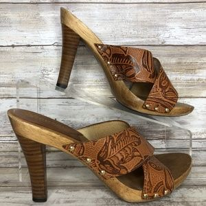 Michael Kors 6.5M Brown Embossed Leather Mules